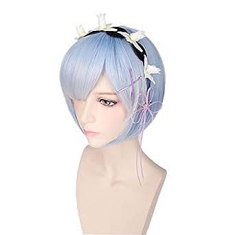 コスプレ ウィッグ Re:ゼロから始める異世界生活 リゼロ ラム レム 双子 メイド ショート ピンク ライトブルー 水色 & ホワイトウィッグ かつら 高温耐熱 コスプレ cosplay wig (レム(水色 & ホワイト))
