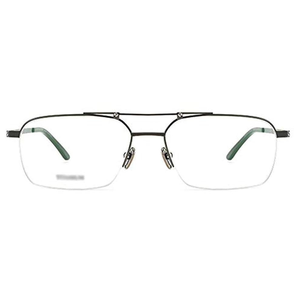 カウンターパート散る思いやり長方形純チタンフレーム多焦点プログレッシブ老眼鏡、アンチUV樹脂レンズ、コンピュータ青色光遮断リーダー(+1.0から+3.0)