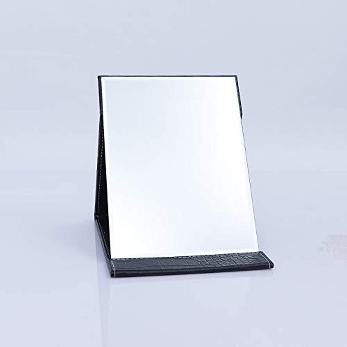 雲ハリケーン調整するTakelablaze 化粧鏡 折立ミラー 卓上スタンドミラー 折りたたみミラー PUレザー ブラック