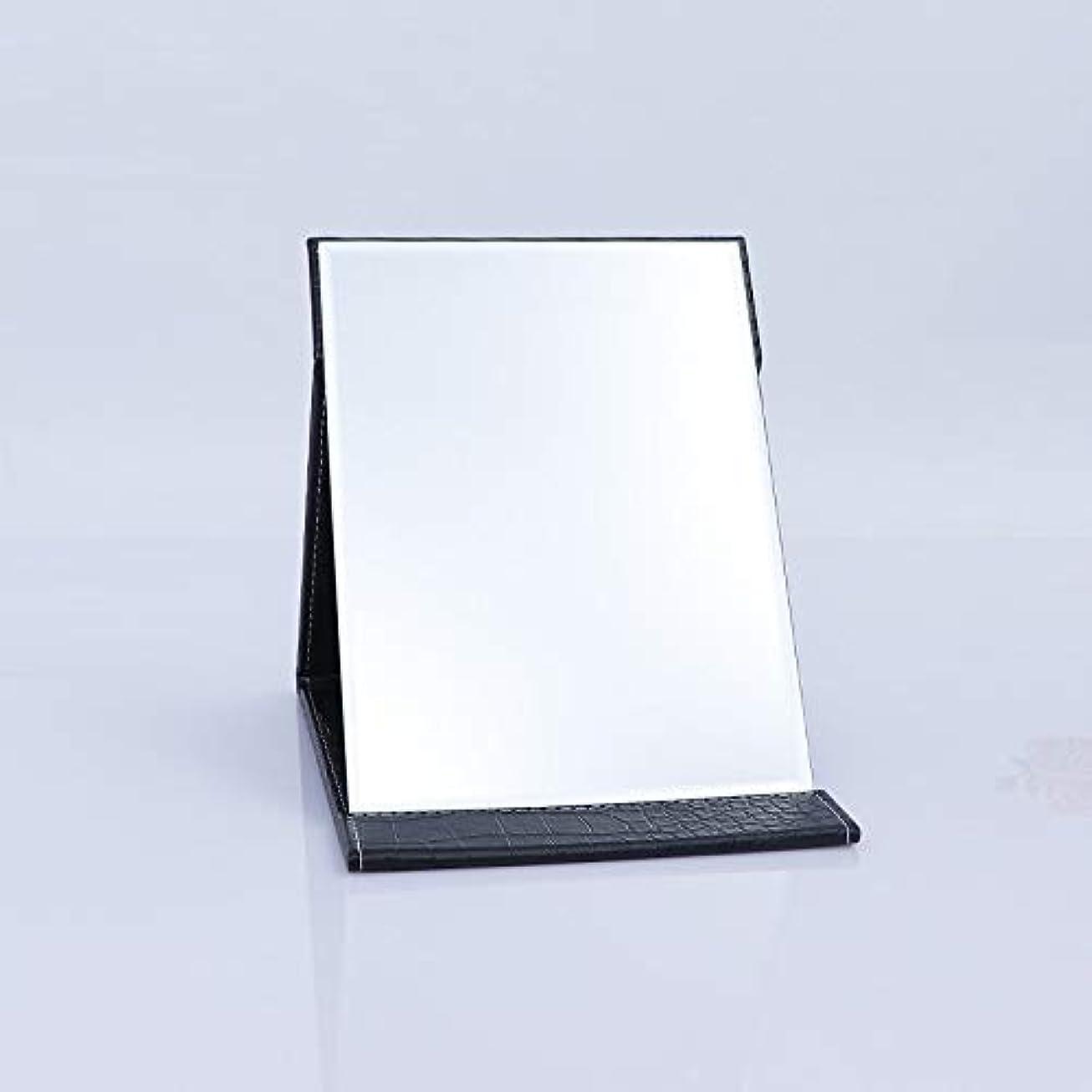 スラム街一族区別するTakelablaze 化粧鏡 折立ミラー 卓上スタンドミラー 折りたたみミラー PUレザー ブラック