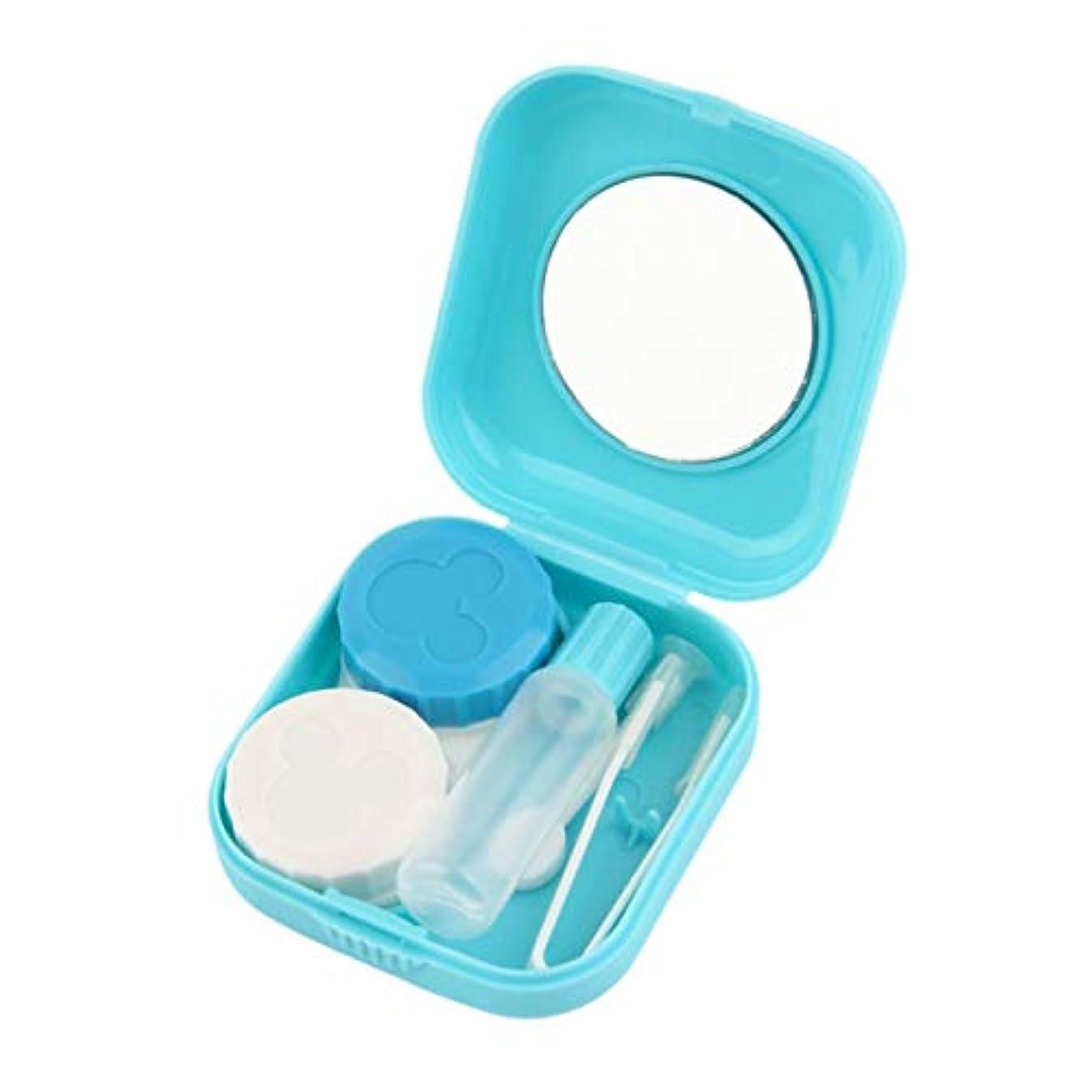 免疫マント発揮するプラスチックポータブルミニコンタクトレンズケースミラー付きの屋外旅行コンタクトレンズホルダーコンテナー