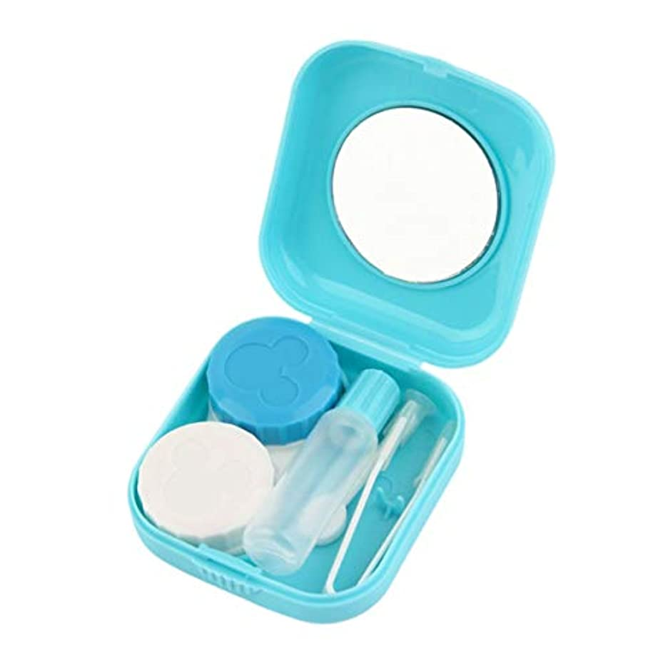 発見する息を切らして結果プラスチックポータブルミニコンタクトレンズケースミラー付きの屋外旅行コンタクトレンズホルダーコンテナー