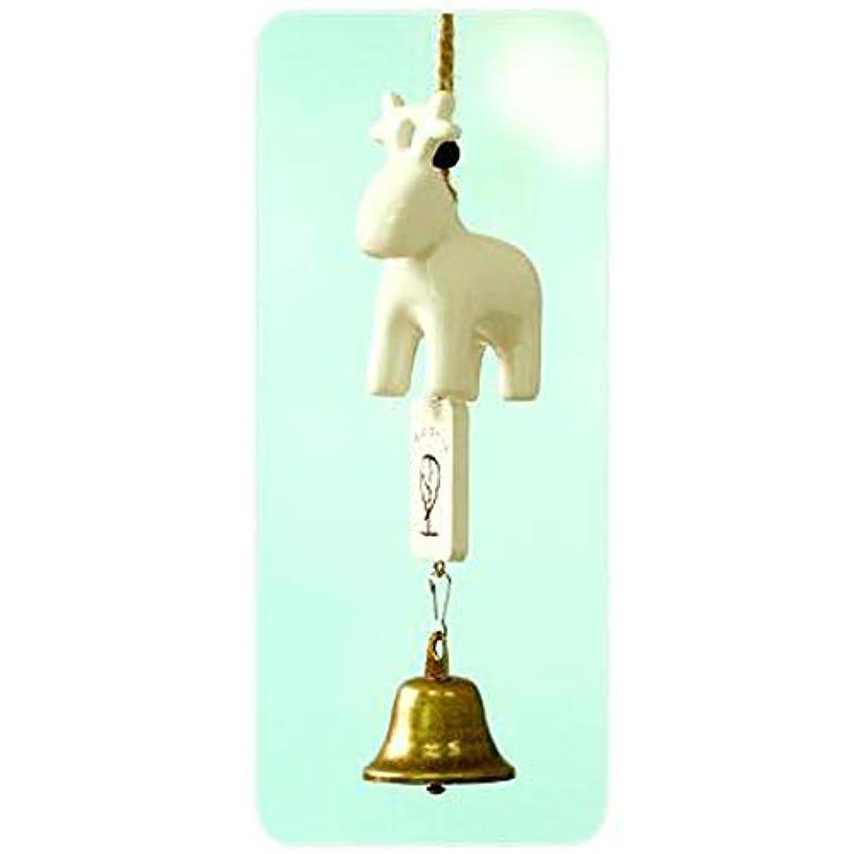 胚こしょうカスタムHongyuantongxun 風チャイム、セラミック風チャイム漫画の動物、ホワイト、全長約20cm,、装飾品ペンダント (Color : B)