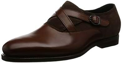 [バルバネーラ] クロスストラップレザーシューズ  BALZAC/Calf×Suede midle brown/dark brown ブラウン/ダークブラウン UK 8.5(27cm)