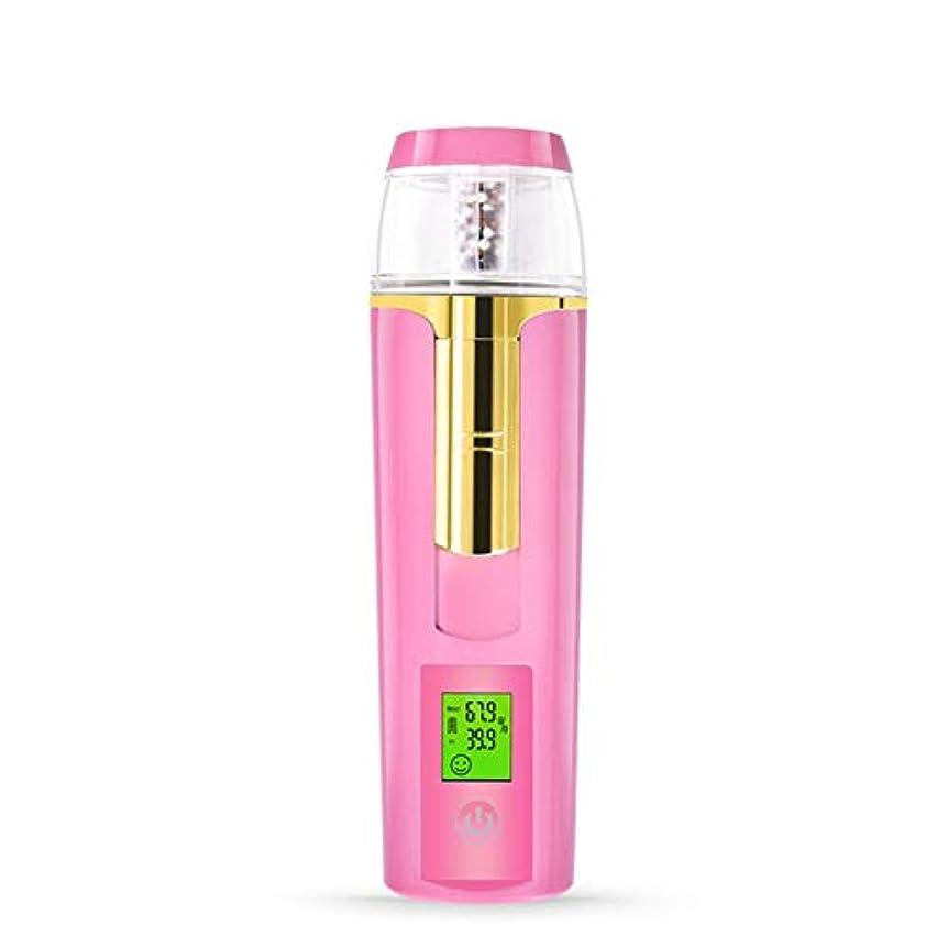 シャーク時期尚早関与する美容スチーマー 携帯 マイナスイオン 肌水分量測定 コールドスプレー 旅行 オフィス 車の使用 30ml USB充電式 モバイルパワー (Color : Pink)