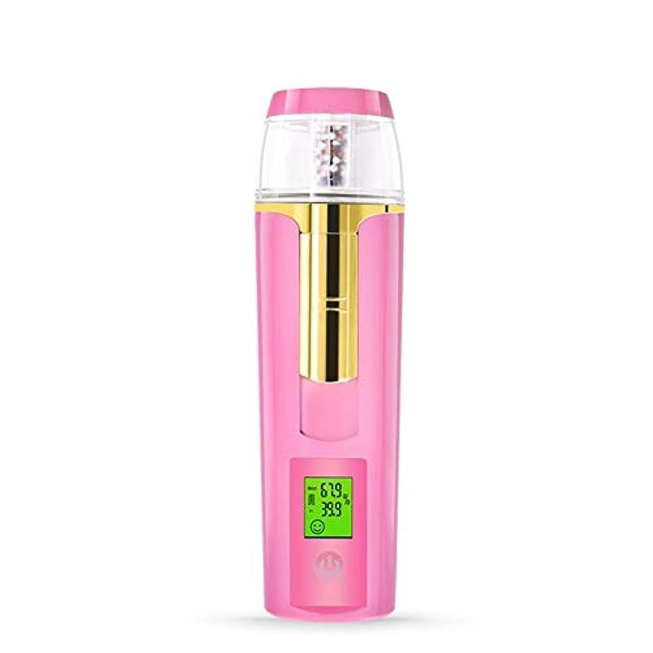 バスト繊毛然とした美容スチーマー 携帯 マイナスイオン 肌水分量測定 コールドスプレー 旅行 オフィス 車の使用 30ml USB充電式 モバイルパワー (Color : Pink)