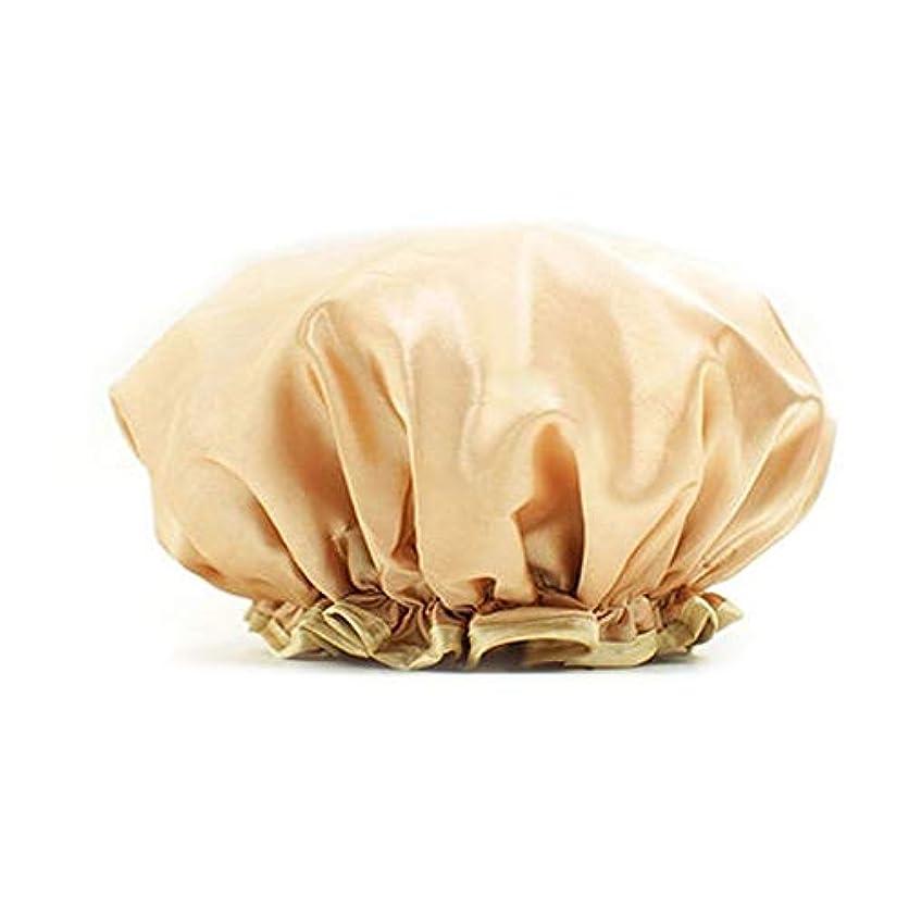欠如ジュース繁雑XiaoNUO シャワーキャップ防水シャワーキャップ大人ブルーピンクシャワーファッション厚みのある防水シャワーキャップレイン防水防水キャップ 髪を乾いた状態に保ちます。 (Color : Gold)