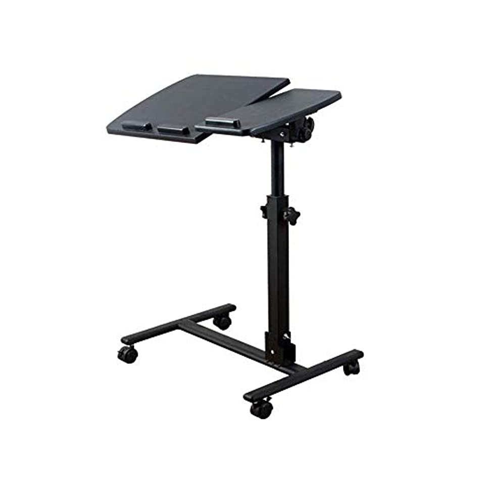 錆び終了するなるテーブル?チェアセット 表 ポータブル ラップトップ 調節可能な 高さ ラップトップ スタンド 机 カート マウス ボード 360° スイベル 傾斜 CJC (色 : 黒)