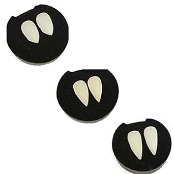 Formemory バンパイアの牙 ハロウィン 入れ歯セット 3本セット コスプレ つけ歯 吸血鬼のつけ牙 仮装 ヴァンパイア 男女兼用 (13mm、15mm、17mm)
