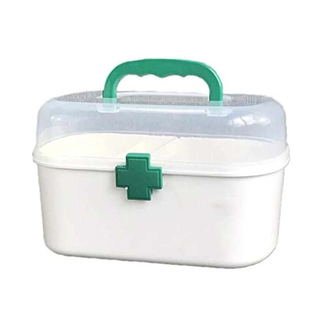 小競り合い温度計多くの危険がある状況家庭用薬箱子供用薬仕上げ収納箱家庭用プラスチック製ポータブル救急箱 HUXIUPING (Color : Green, Size : L)
