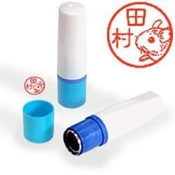【動物認印】鼠ミトメ2・デグーマウス ホルダー:ブルー/朱色インク