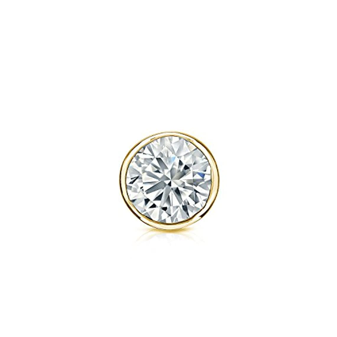 質量構造王位14 Kホワイトゴールドbezel-setラウンドダイヤモンドシングルスタッドイヤリング( 1 / 8 – 1 CT、G - H、vs2-si1 ) screw-back