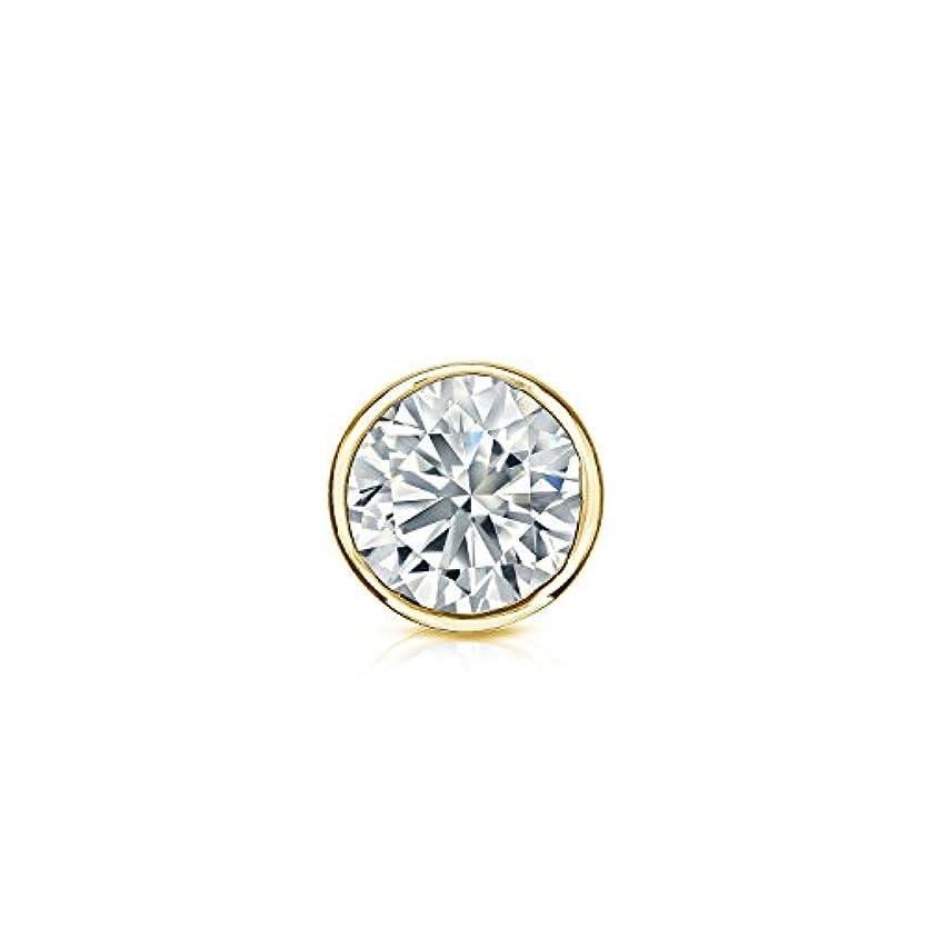 薄いコーンウォール動作14 KローズゴールドメンズラウンドダイヤモンドSimulant CZベゼルスタッドイヤリング( 1 / 8 – 1カラット、優れた品質)