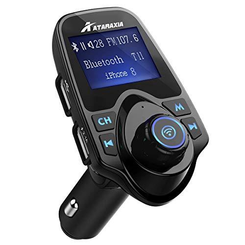 車載FMトランスミッター Bluetooth iphone android各種機のスマホに対応 高音質 音楽放送再生 通話ハンズフリー 日本語取扱説明書付き mp3プレヤー microSDカード USBメモリに対応 AUX端子 2つ充電ポート搭載 急速充電可能 大型液晶画面表示