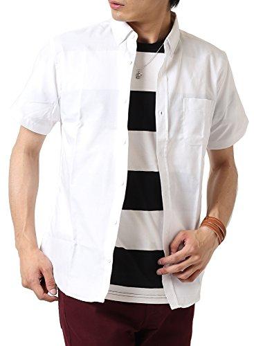 (アーケード) ARCADE メンズ 半袖シャツ オックスフォード ボタンダウンシャツ 白シャツ カジュアルシャツ M ホワイト