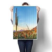 キャンバスウォールアート ラージ ロマンチック 油絵 背骨の硬い植物とサボテンが育つ クリア スカイ 風景 ピクトン キャンバス (フレームなし) 16 x 28inch(40x70cm)/1pc