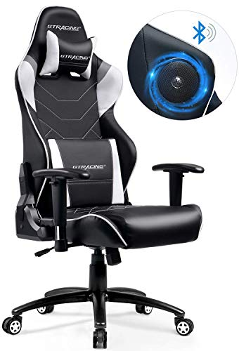 GTRACING ゲーミングチェア オフィスチェア blutoothスピーカー 新たなプレミアムが誕生 特許取得済 ゲーム用 ゲーム椅子 レザー 一年無償部品交換保証 GT899-GRAY