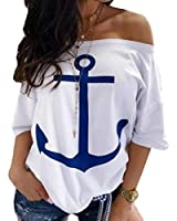Keaac Women's Short Sleeve Off Shoulder Printed Casual Anchor Blouse Tops White XS