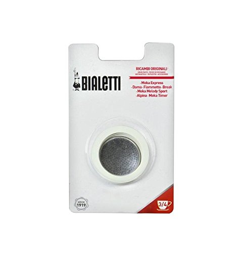 Bialetti: replacement for Moka Express 3-cups (3 gasket + 1 filter) [ Italian Import ]