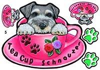 犬 ステッカー /マグネット/シュナウザー5/ミニチュアシュナウザー/ティーカップ模様/雑貨/グッズ