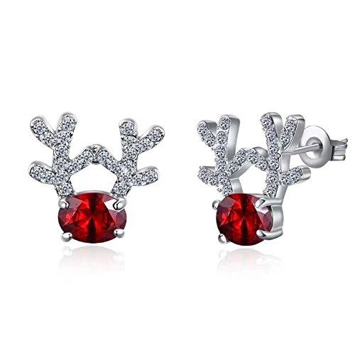 Christmas Stud Earrings Gift Crystal Gemstone Earrings luxury three dimensional Christmas reindeer earrings for Women Girls Kids Teens(Rosegold)