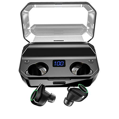 2019革新モデル 480時間連続駆動 8000mAH大容量充電ケース付き 40m伝送距離 LEDディスプレイ 最新Bluetooth5.0+EDR搭載 Bluetooth イヤホン Hi-Fi高音質 3Dステレオサウンド 完全ワイヤレス イヤホン 自動ペアリング 両耳 左右分離型 AAC8.0/CVC8.0ノイズキャンセリング対応 ブルートゥース イヤホン IPX7完全防水 音量調整 両耳通話 技適認証済/Siri対応/iPhone/iPad/Android対応
