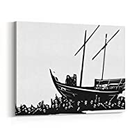 Rosenberry Rooms キャンバス ウォールアート プリント - ウッドカットスタイル 表現主義者イメージ 3 人 アラビア語のダウ レフュギーの群衆による運搬 14 x 11 inches
