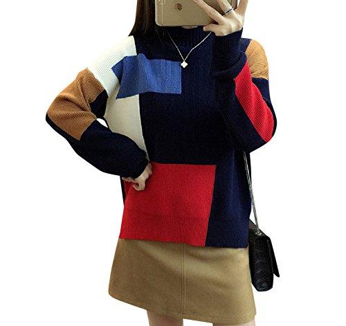 formanism ゆったり ボトル ネック 綿100% ウール デザイン カラー ニット セーター レディース 全6色 (ネイビー)