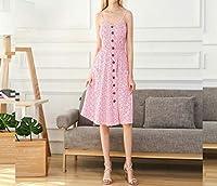 Welchemhom 女性のボタンダウンドレス花柄プリントスパゲッティストラップAラインカジュアルミディドレス (Color : ピンク, サイズ : M)