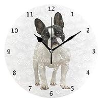 時計 壁掛け 壁掛け時計 掛け時計 モダン 壁時計 掛時計 デザイン時計 無音時計 連続秒針 静音 オシャレ フレンチ・ブルドッグ犬の子犬のかわいく美しい写真