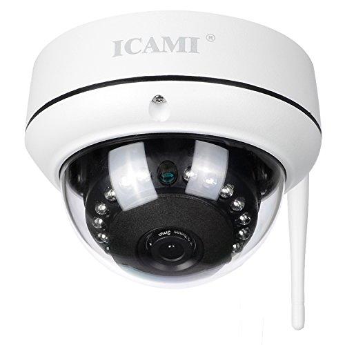 ICAMI 防犯カメラ HD 720P ワイヤレス IP 監視カメラ SDカードスロット内臓で自動録画 WIFI対応 動体検知 ...