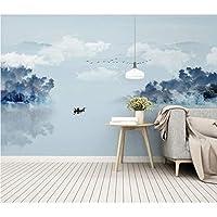 Hwhz 牧歌的な壁紙紙中国抽象インク風景壁壁画家の装飾3D自己接着ビニール-200X140Cm