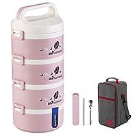保温弁当箱 お弁当 多層 大容量 保温食箱桶 ランチボックス ステンレスランチジャー 食事箱 持ち運びが簡単 学校 ピクニックキャンプ (Color : Pink, Size : 4 layer)