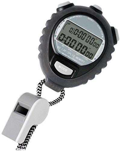 [クレファー]CREPHA デジタルストップウォッチ 日常生活防水仕様 カウントダウン計測 60LAPメモリー付き ブラック TEV-4026-BK