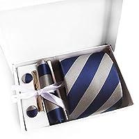 MFYS メンズ ネクタイ ピン カフス ボタン チーフ 5点セット 12色選択可能 ビジネス 就活 結婚式 入学式 卒業式 二次会 冠婚葬祭 パーティー 父の日 (Style-6)