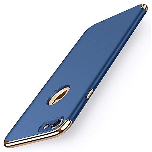 KYOKA iPhone8 ケース iPhone7 ケース メッキ加工 軽量 衝撃防止 3パーツ式 アイフォン8 / 7 ケース 高級感 薄型 携帯カバー (iPhone8/7, ブルー)