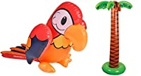 LUAU Inflatables set - 1.8m PALM TREE and 100cm Parrot Inflate - tropical luau party decorations