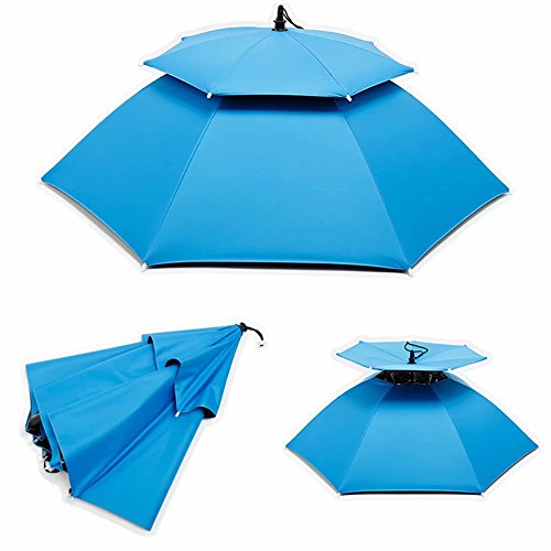 gakkino アタマンブレラ レジャーハット 傘帽子 迷彩 かぶる傘 折りたたみ傘 釣り 通気性 晴雨兼用 hpjj-1012(スカイブルー)