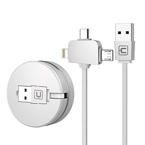 CAFELE ライトニングケーブル USB Type-Cケーブル3in1 充電ケーブル 巻き取り式 長さ1m iPhone x / iPhone8 / 8plus / iPadなど充電対応 データ転送ケーブル (ホワイト3in1)