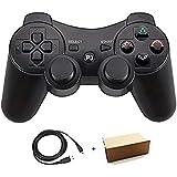 Pueleo PS3用 ワイヤレス デュアルショック3 ワイヤレスコントローラー 対応 日本語説明書 USB ケーブル付属 (ダークブラック)