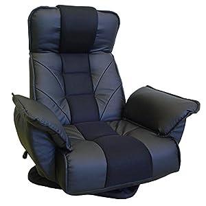 明光ホームテック 回転座椅子 TVが見やすい レバー式 14段階リクライニング ブラック FRL-アクロスBK