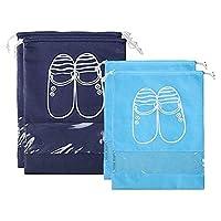 TOOGOO 4個靴袋防塵ドローストリング透明窓付きトラベルシューズ収納バッグ