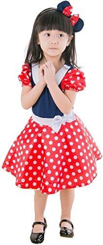 8abd810f8a883 子供 コスプレ 衣装 ミニー マウス コスチューム ワンピース カチューシャ 2点セット M 100-120cm