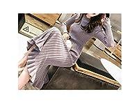 女性のセータードレス服新しいファッションフリルロングスリーブニットドレスの女性のカジュアルな膝丈のドレス、パープル、M