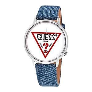 Guess Men 's Originalsシルバートーンとデニムロゴ腕時計