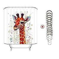 キリン装飾シャワーカーテン付きメタルフック、ポリエステル生地浴室のシャワーカーテン、クールヒップスターファッションクリエイティブ楽しい動物アートプリント (サイズ さいず : 130cmx200cm high)