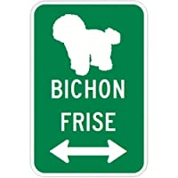 BICHON FRISE マグネットサイン グリーン:ビションフリーゼ(小) シルエットイラスト&矢印 英語標識デザイン Water Resistant&.