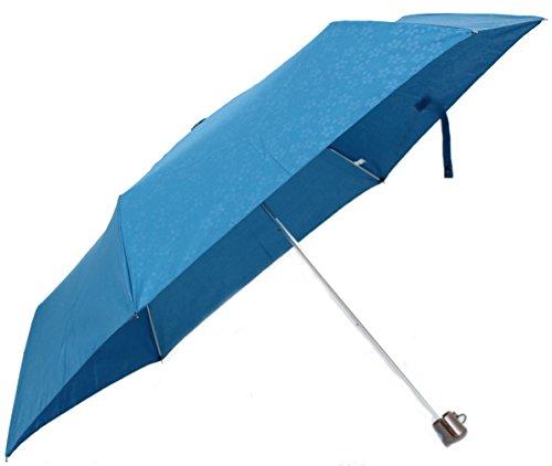 男女兼用 軽量ミニ エンボス 和柄 55cm 折りたたみ傘 (桜:藍色)