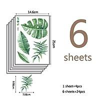 MXL-ステッカー PVC 6PCSグリーン熱帯の葉DIYの壁のステッカーの牧歌的なスタイルのリビングルームのインテリア壁紙子供の保育園の壁画デカール (色 : 24pcs)