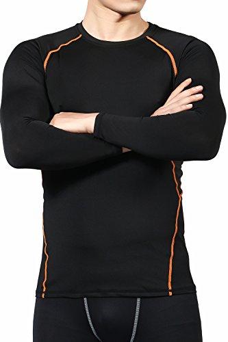 LUDUS スポーツインナー コンプレッションウェア 長袖 [苦しくない] メンズ シャツ トップス アンダーウェア 6カラー (XL, ブラック×オレンジ)